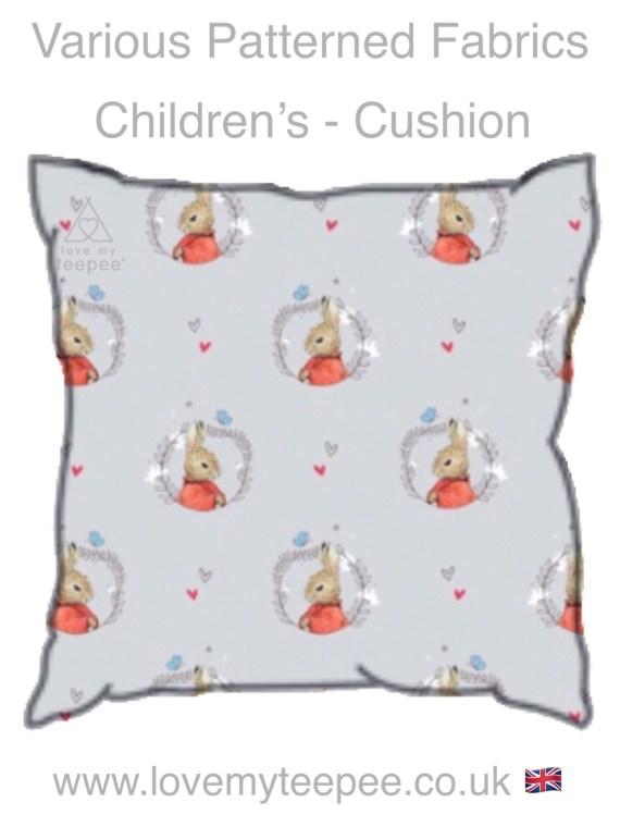 flopsy on grey childrens cushion
