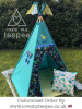 bespoke dinosaur teal teepee with cushions floor mat and pole flags