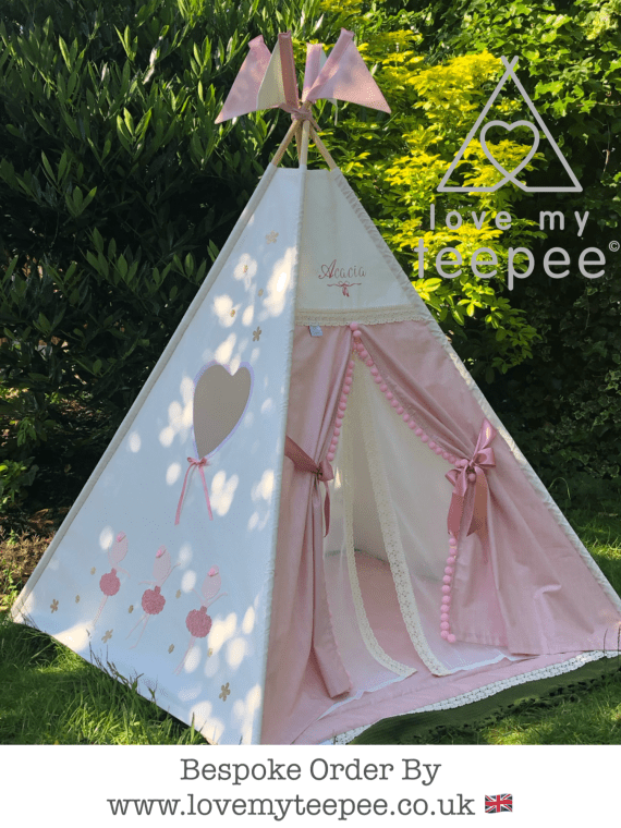 personalised dusky pink and ivory lace girls boho teepee tent