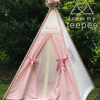 kids personalised dusky pink teepee tent with ivory lace doors