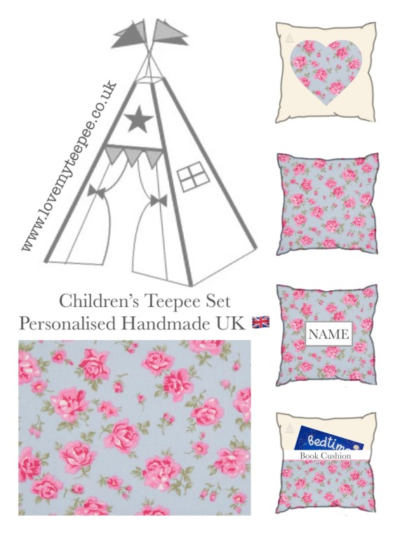 bella rose pink and blue teepee set