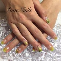 yellow glitter with design