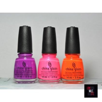 China Glaze Violet-vibes - pink voltage - orange knockout