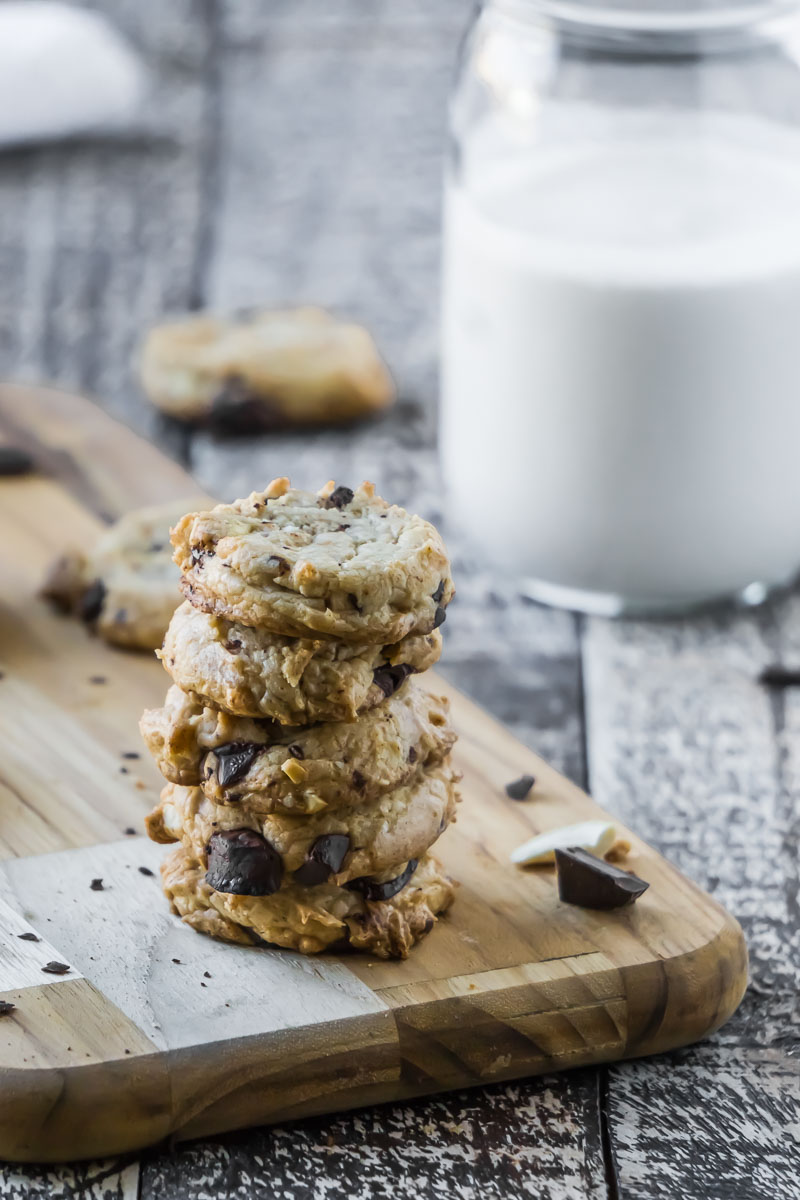 A delicious Coconut Cashew Chocolate Chip Cookie