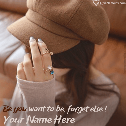 Write Name On Stylish Girl In Cap Hidden Face FB Picture