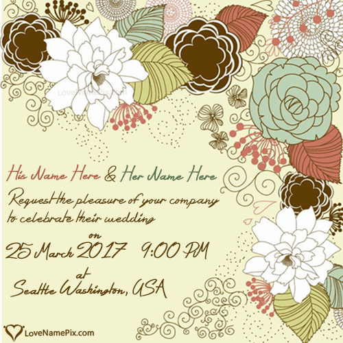 Write Name On Wedding Invitation Cards Designs Picture