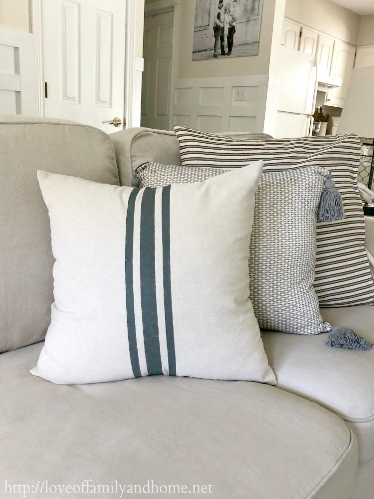 diy grain sack pillow love of family