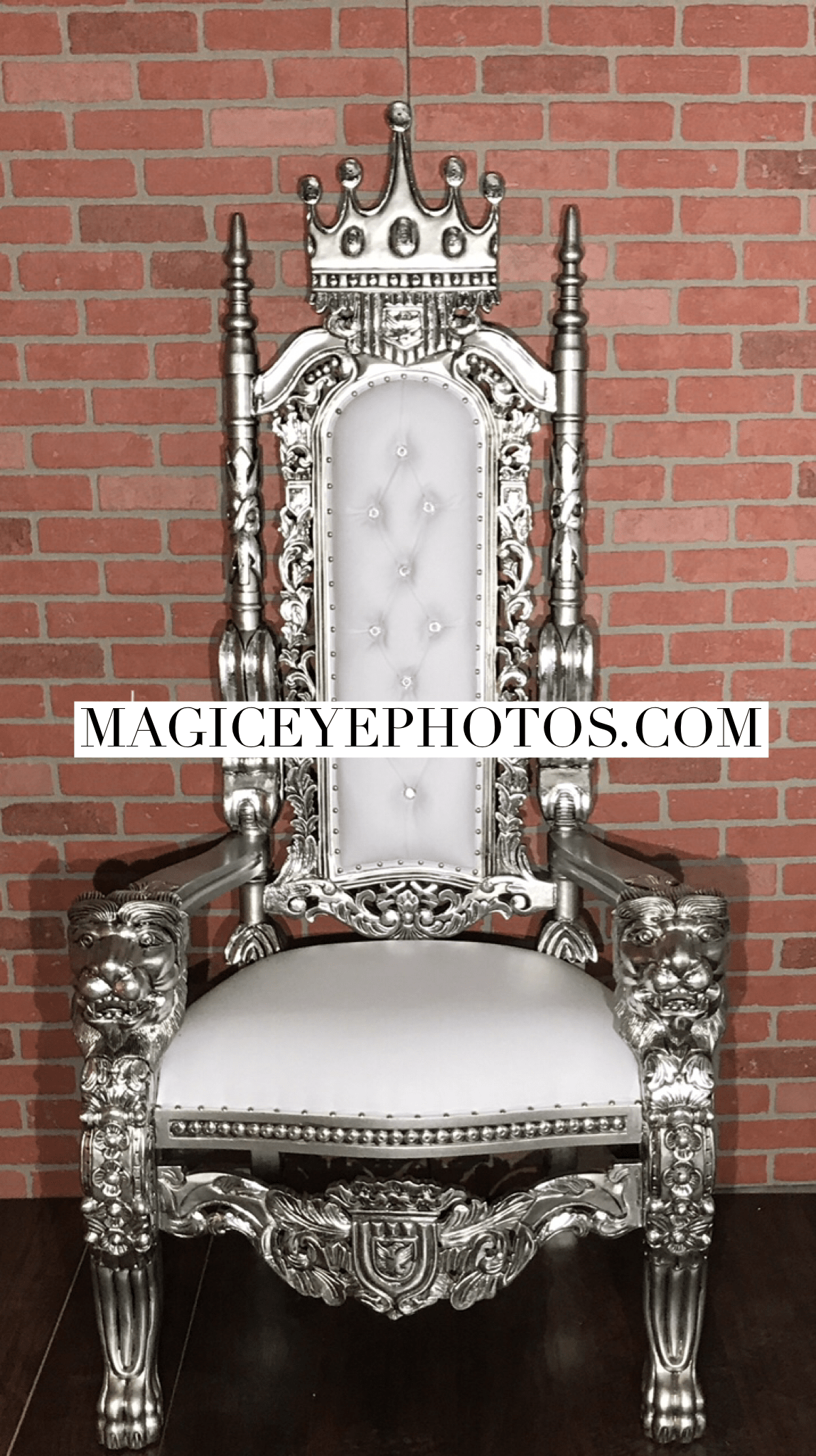 Silver and White Throne Chair Rental