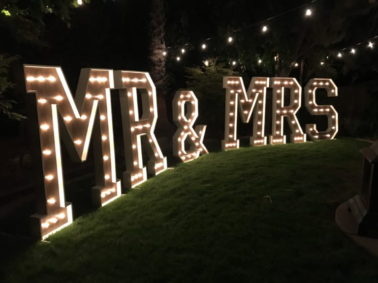 Large Marquee MR  MRS Sign Light Up Letters wedding backdrop
