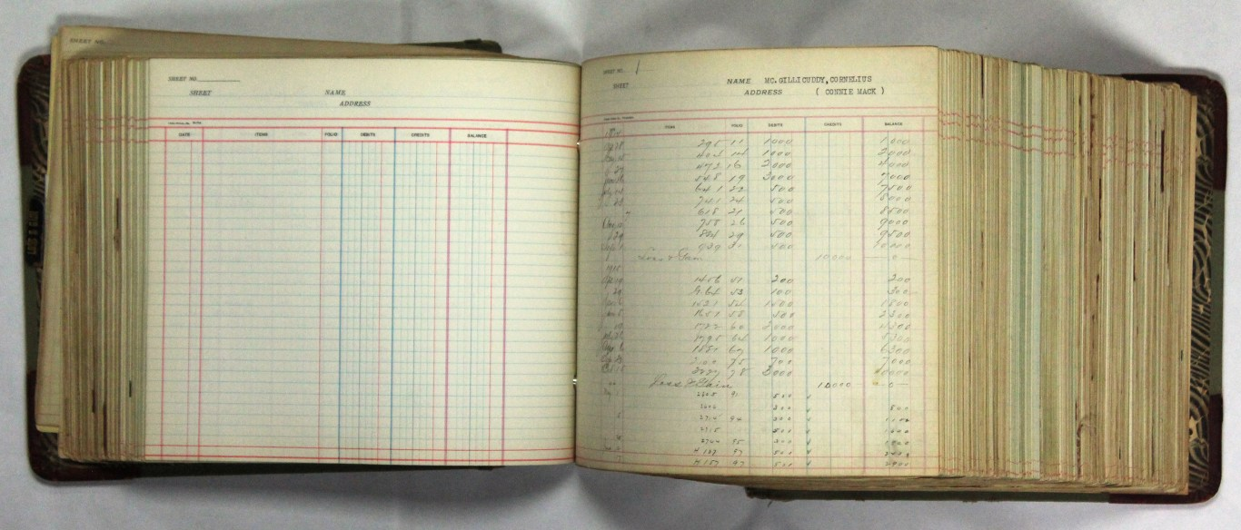 One page of Connie Mack's expense ledger