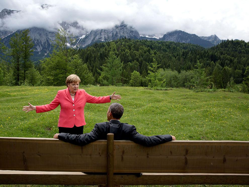 Ангела Меркель и барак Обама в Германии