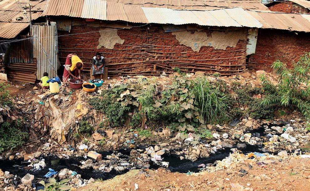 Стирка на берегу роскошного канала в трущобах в Найроби
