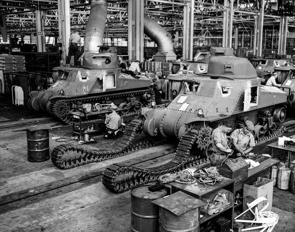 Производство американскийх танков M-3. 1942 г.