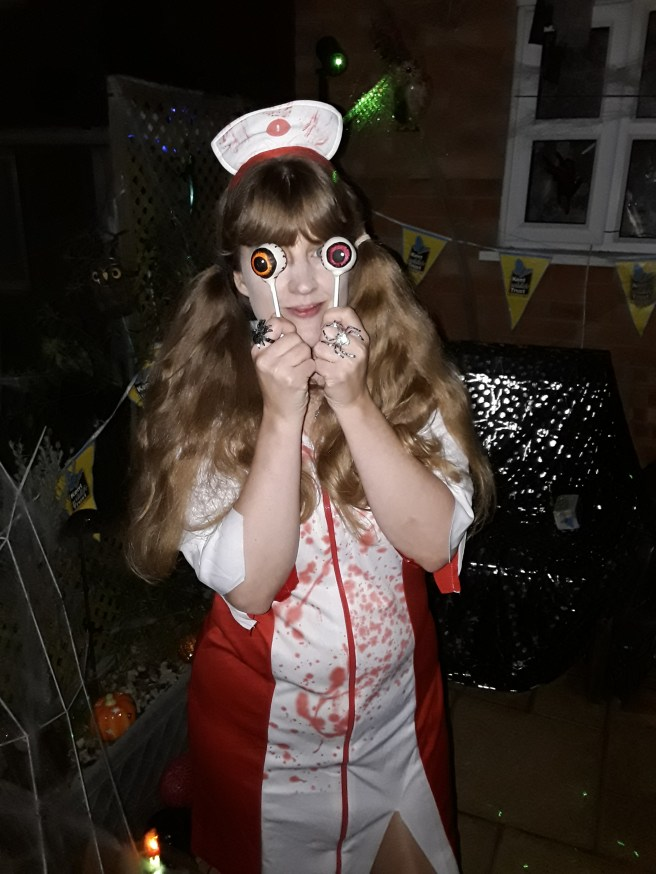 Me at Halloween with pop cake eyes