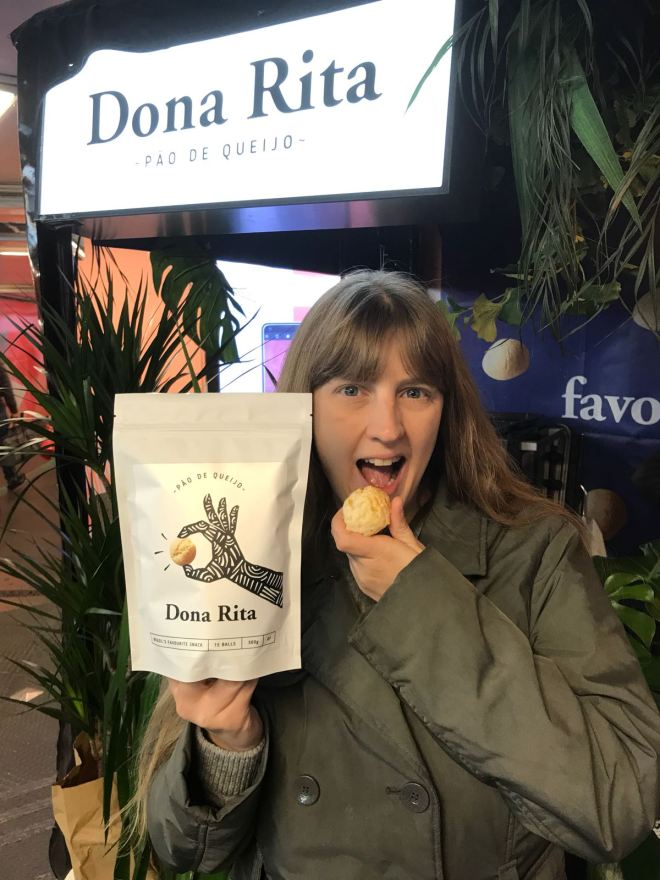 Me eating Dona Rita Pao de Queijo's