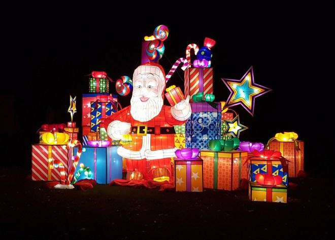 Magical Lantern Santa and presents