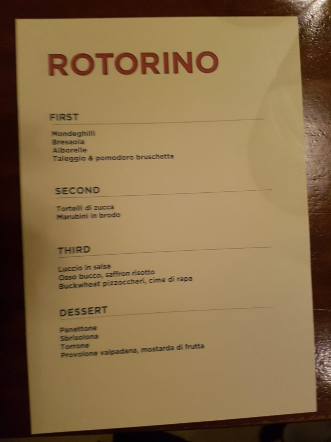 Rotorino menu