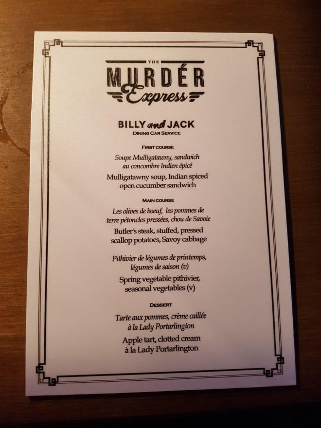 Murder Express menu