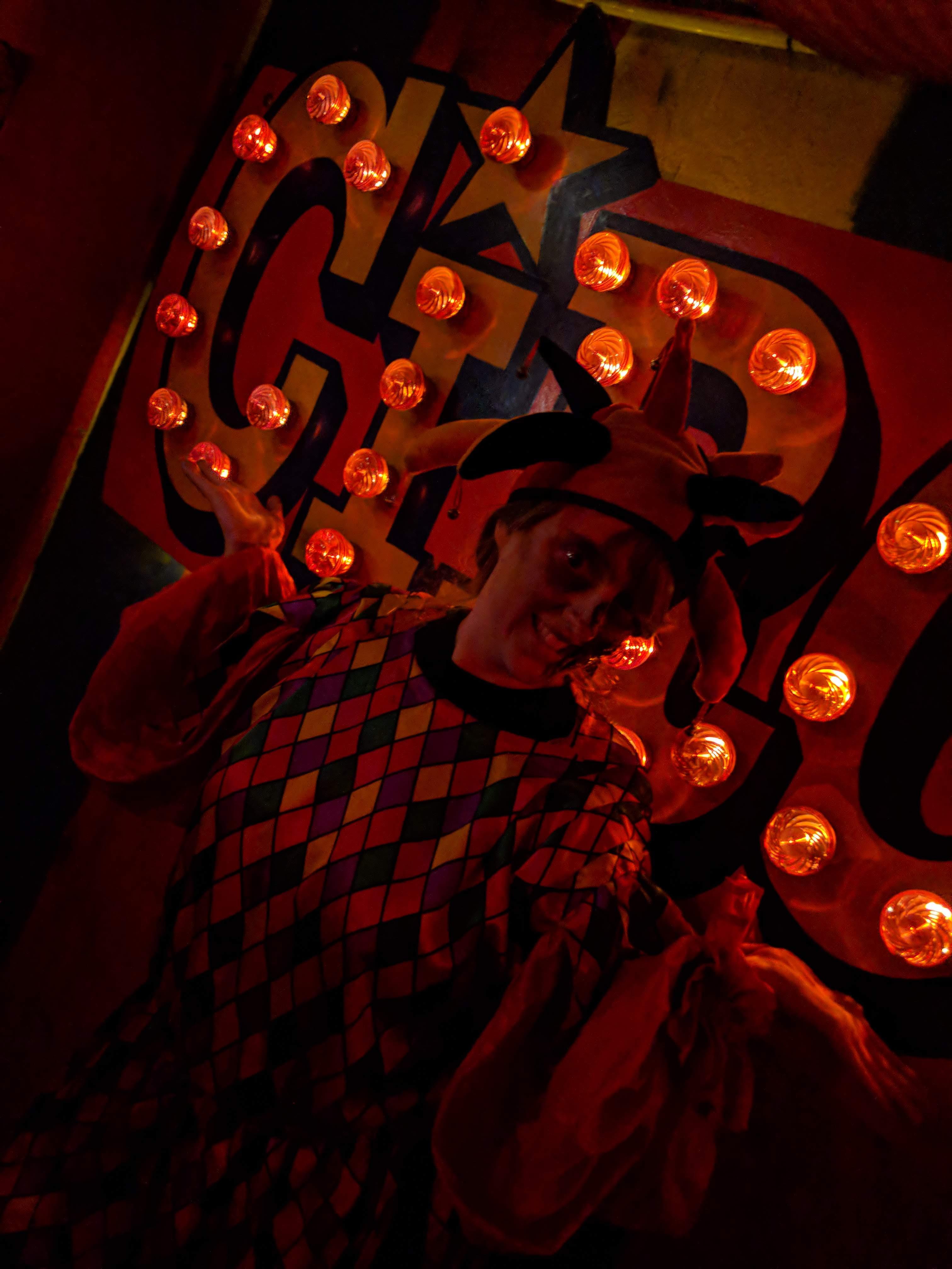 London Tombs - Joanne as a clown