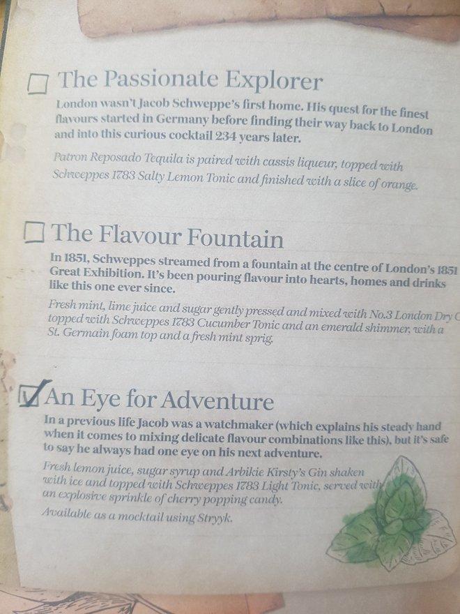 Schweppes menu