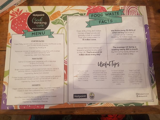 Hotpoint fresh thinking cafe menu