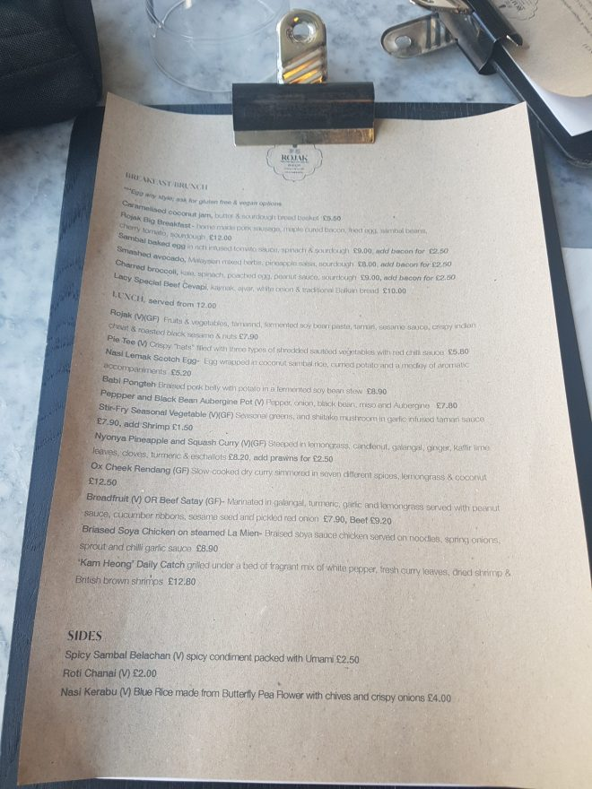 Rojak - menu
