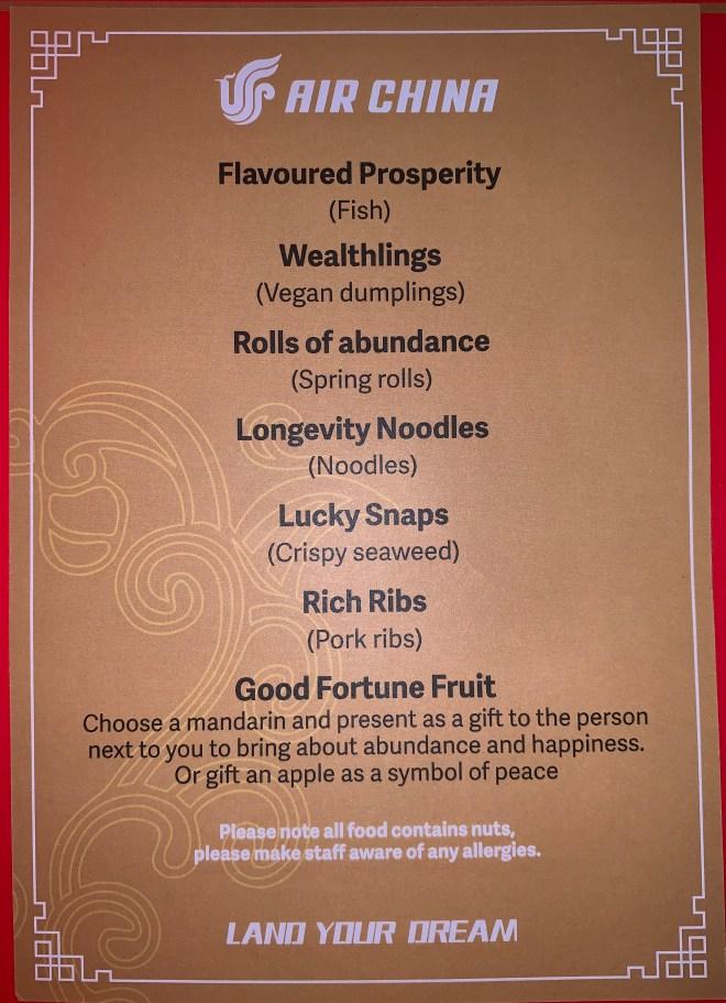 Air China Land of Luck - menu