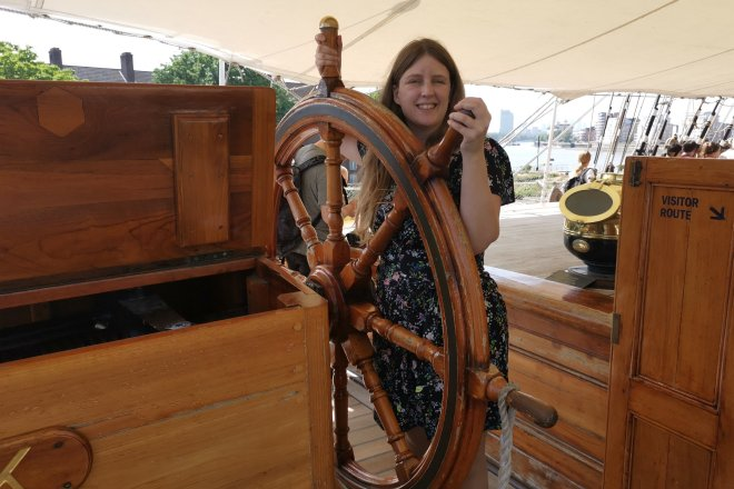 Cutty Sark me at wheel