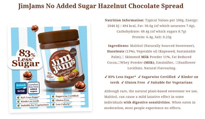 JimJams Milk Chocolate Spread facts