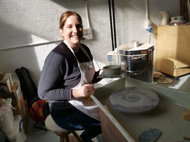 Amanda Cotton Lynsey at potters wheel