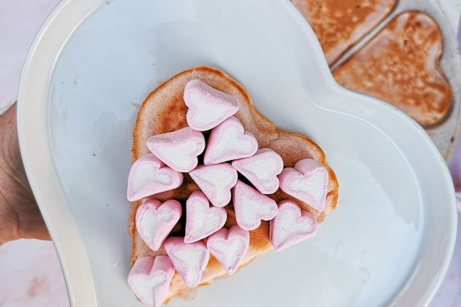 Haufson pancakes with marshmallow hearts