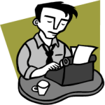 reporter on typewriter clipart
