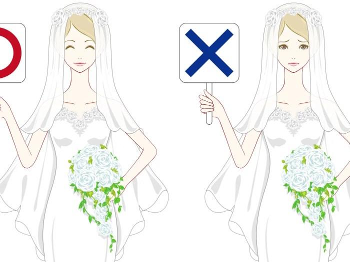 〇×の札を持った結婚式を行いたい花嫁