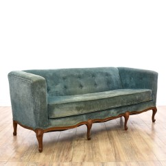 Green Floral Sofa Curved Back Modern Carved Wood Trim Print Loveseat