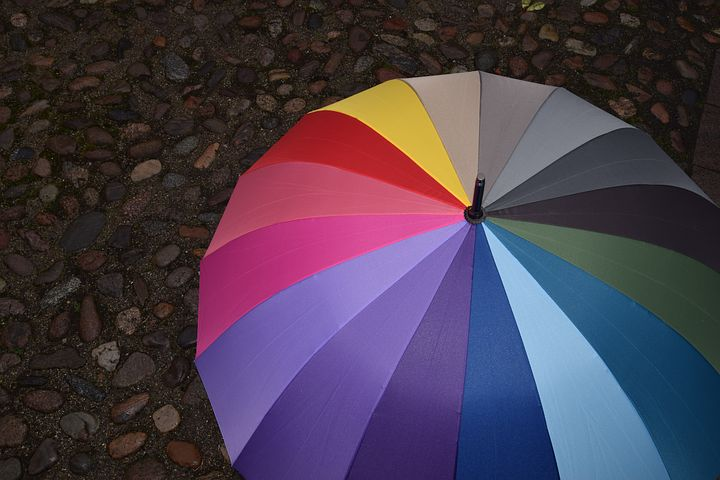 rainbow umbrella sitting on the ground