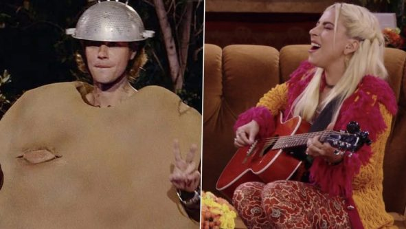Justin Bieber and Lady Gaga on Friends Reunion