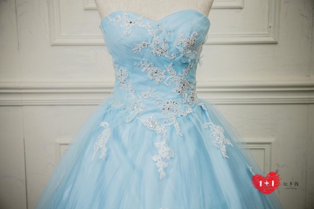 手工婚紗:鎖骨花漾蕾絲禮服