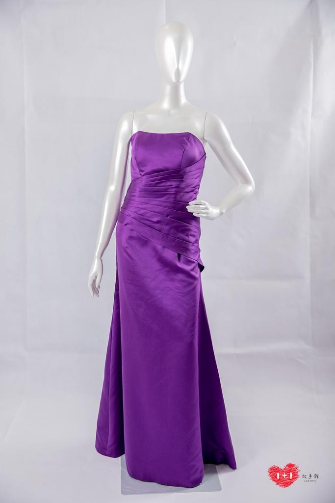 手工婚紗:鑽白金蝶蕾絲晚禮服