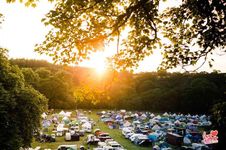 Festival | Devon | view of the love summer campsite