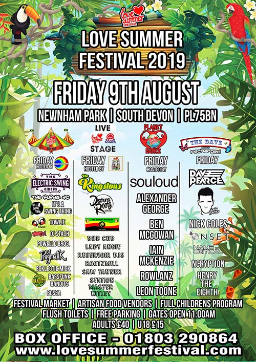 Flyer for Friday 9th August