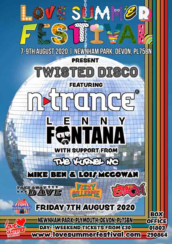 ntrance | Love Summer | Festival | Line Up | Big Top | Friday | Plymouth | Devon | 7th August 2020