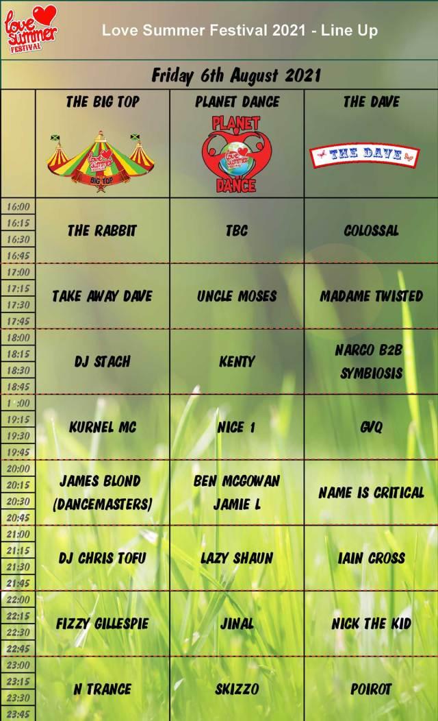 Friday Line Up Schedule