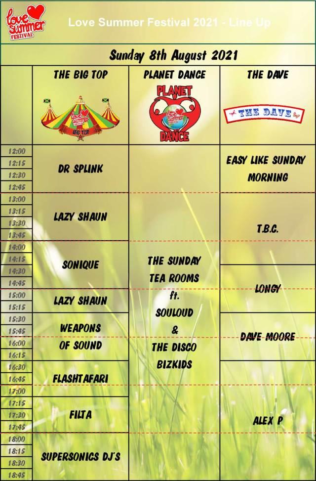 Sunday Line Up Schedule