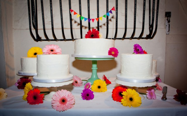 Colour-pop, rainbow wedding cake by Flutterby Bakery Brighton