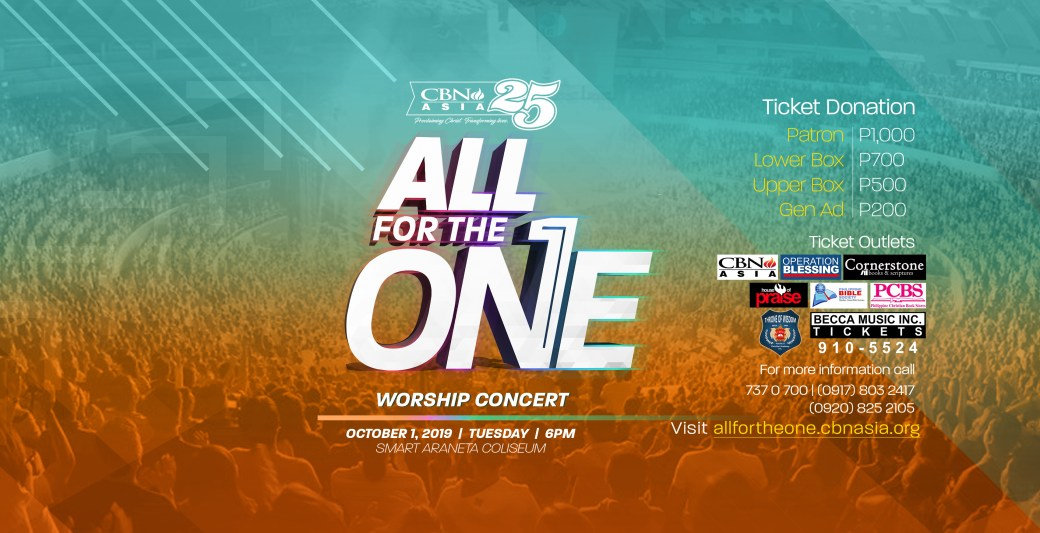 "Christian Matters: Celebrate 25 Years of God's Faithfulness at CBN Asia's ""All for the One Worship Concert"