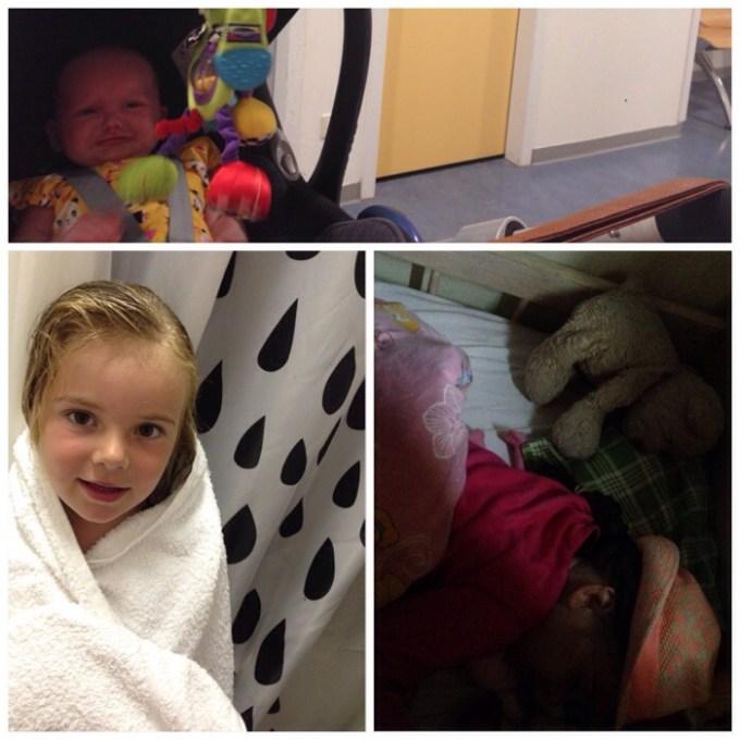 Bovenste foto: Liza in het ziekenhuis. Na zo'n dag in de modder moest er natuurlijk gebadderd worden. Eva viel uiteindelijk met haar hoed op in slaap. Het schatje