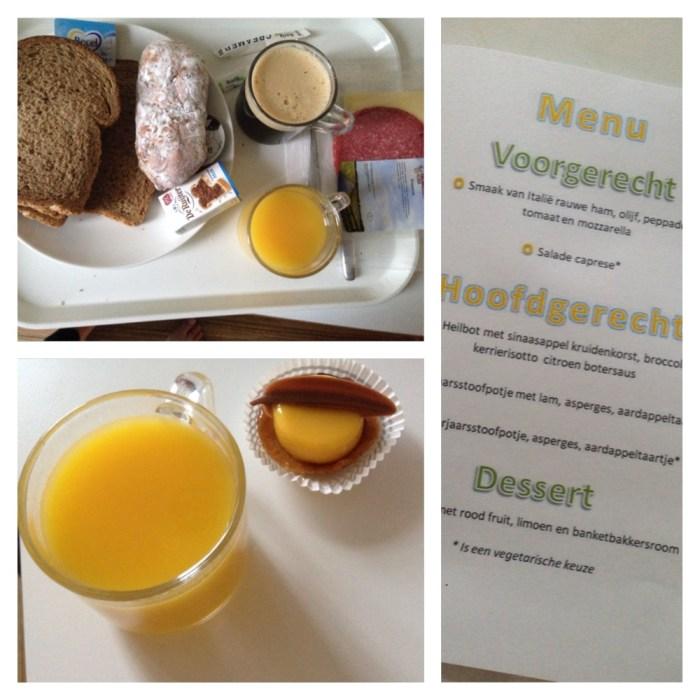 Ontbijt, taartje en het menu van die avond
