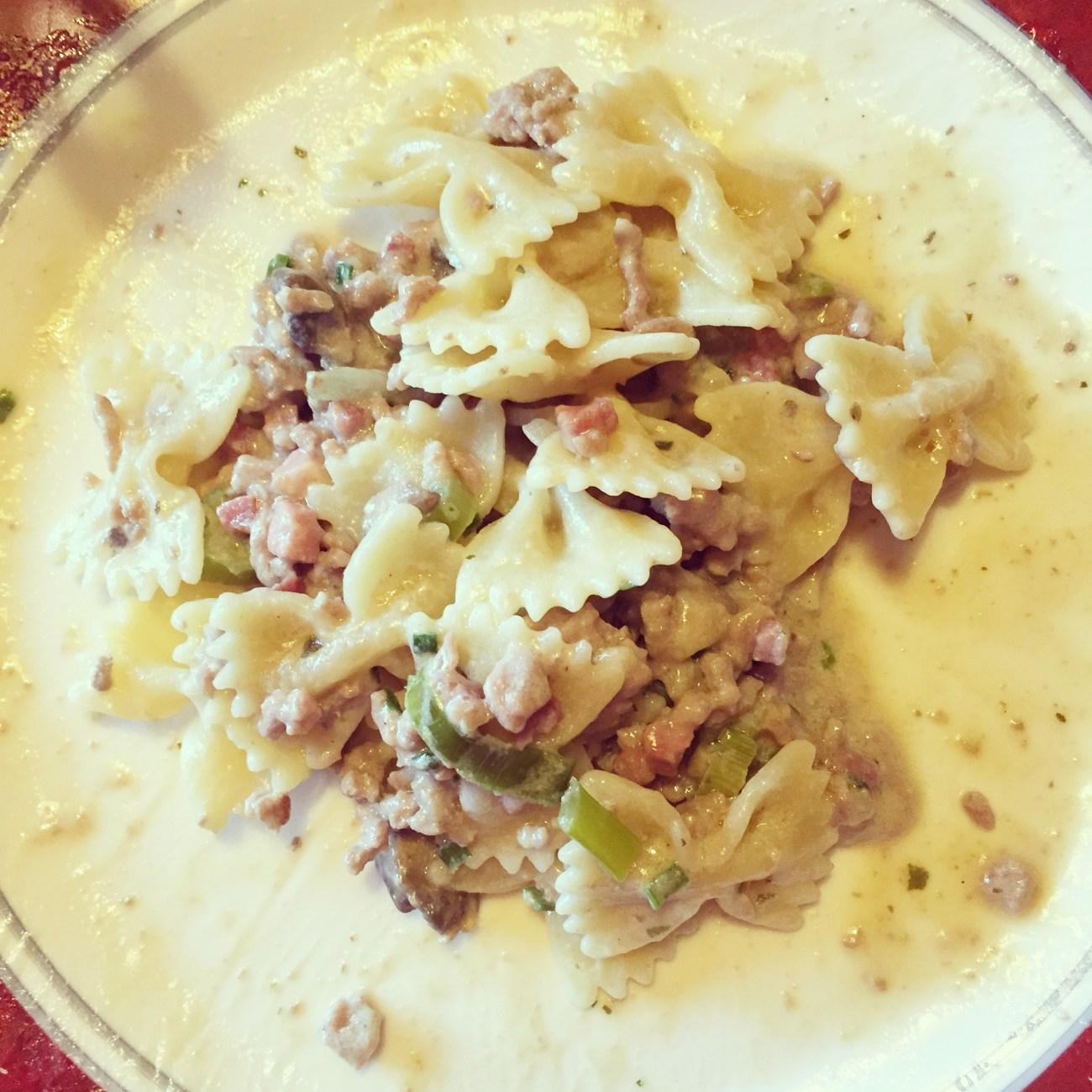 's avonds maakte ik gevulde Pasta Carbonara