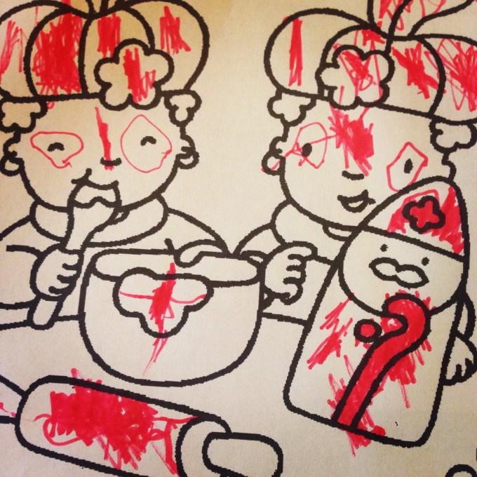 We komen langzaam maar zeker in de Sinterklaasstemming. Donderdagochtend probeer ik met Eva te gaan kleuren. Na twee minuten krassen is dit het resultaat en ging Eva weer wat anders doen...