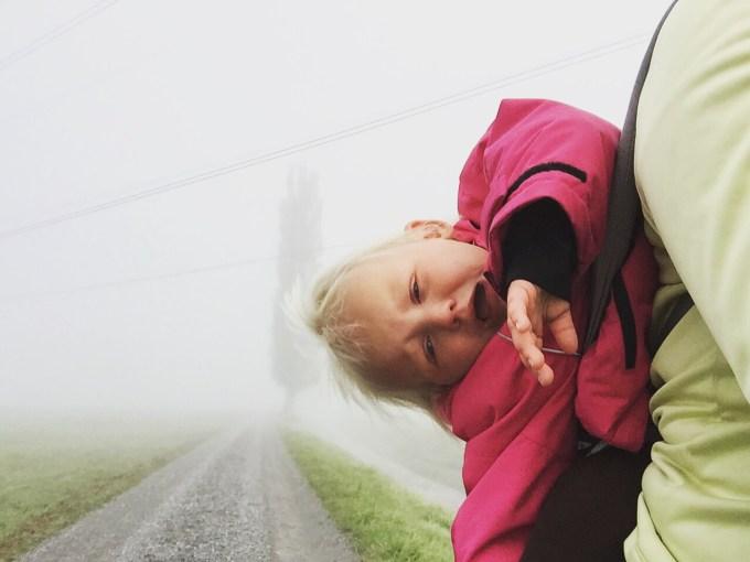 De anderen gingen al vroeg naar Appenzell om boven de wolken te lopen, maar dat ging ik niet redden met Eva. Daarom liep ik alleen, maar daar was Liza het niet echt mee eens... Niet echt prettig om zo te wandelen kan ik je zeggen :)